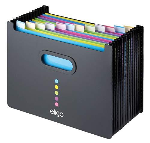 Eligo - Archivador tipo acordeón (13 compartimentos, DIN A4, formato horizontal), color negro ✅