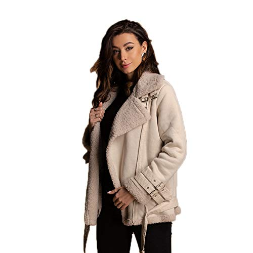 Damen Bomberjacke Revers Faux Wildleder Sherpa Aviator Winter Warmer Mantel Mit Sherpa Fleecefutter,M