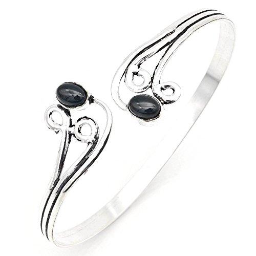 mantraroma Armreif Armband versilbert silbern Onyx schwarz (922-05-020-03)