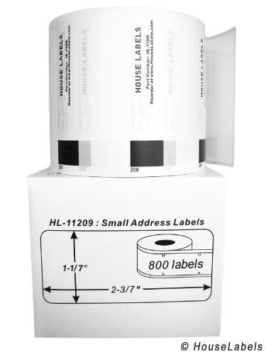 """25 Rolls; 800 Labels per Roll of BROTHER-Compatible DK-1209 Small Address Labels (1-1/7"""" x 2-3/7""""; 29mm62mm) -- BPA Free!"""