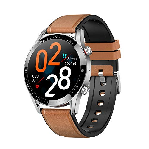 XIMULIZI Multifunktionale Smart Watch Business Fashion Bluetooth Anruf Herzfrequenz EKG-Überwachung Sports Wasserdicht,Braun