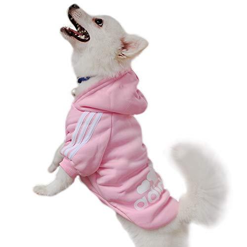 Eastlion Adidog Hund Pullover Welpen-T-Shirt Warm Pullover Mantel Pet Kleidung Bekleidung, Pink, Gr. L