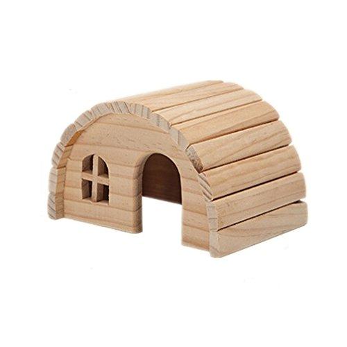 Emours Casetta, nascondiglio, per criceti, in legno naturale, masticabile, piccola