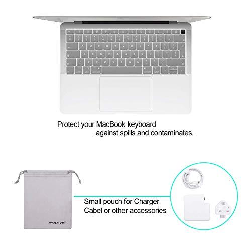 MOSISO Hülle Kompatibel mit 2020 2019 2018 MacBook Air 13 A2337 M1 A2179 A1932,Plastik Koffer&Tastaturschutz&Displayschutz&Lagertasche Kompatibel mit Mac Air 13,Frost
