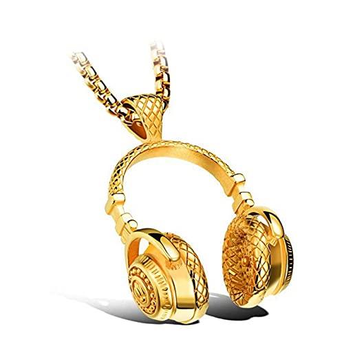 Collar Hombre Auricular Música Colgante Acero Inoxidable Collar De Cadena Multi-Larga Collar De Oro De Acero Negro Joyería De Hip Hop Decoración Superior Joyería Personalidad De La Joyería