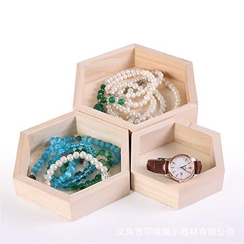 Soporte de la joyería 3 unidades de madera hexagonal organizador vanidad diferente tamaño cosmético natural bandeja de almacenamiento de maquillaje bandeja de joyería de madera Para la tienda familiar