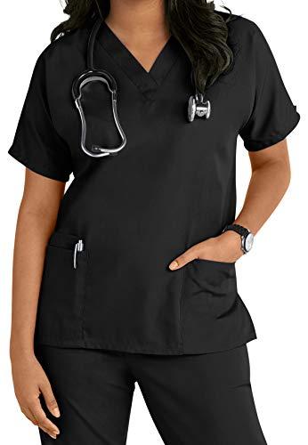 Krankenschwestern, Kosmetikerin, Tierarzt-Tuniken, Uniform für Krankenschwestern, Größe S - 3XL Gr. M, Schwarz [Schwarz]