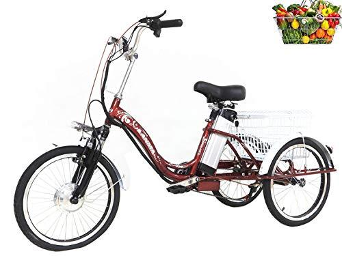 Dreirad Erwachsene elektrisch unterstützt 3-Rad Fahrrad 20 '' mit Einkaufskorb für Eltern und Familie dreirädrige Fahrräder Damen Fahrrad Lithium Batterie 48V10AH Last 150kg