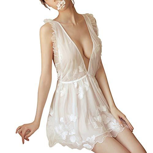 Sexy Lingerie Dames Borduren Butterfly Lace Strap Nachtjapon Leuk Meisje Suit ZHQHYQHHX (Color : White)