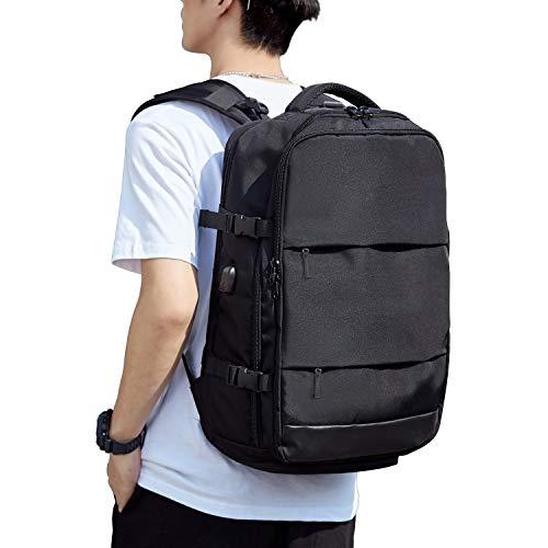 Black Travel Laptop Backpack for Men Women, Flight Approved Carry On Backpack Hand Luggage, Large Waterproof Business Backpack Weekender Bag for 17 Laptop