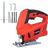 TEENO Scie Sauteuse,Professional 600W Scie Sauteuse électrique, Hauteur de Course 22mm, 3000SPM, Angle Max 45°, 6 Vitesses, avec 6 accessoires