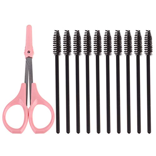 HJTLK Stainless Steel Eyebrows Scissors and Eyelash Brushes Set,Eyebrow Kit for Eyebrow Grooming, Shaping and Trimming
