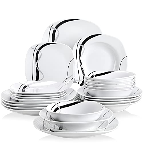 VEWEET Tafelservice 'Fiona' aus Porzellan 24 teilig   Geschirrset beinhatlet Müslischalen, Dessertteller, Speiseteller und Suppenteller  Geschirrservice für 6 Personen