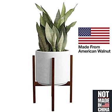 Fabrik Mid-Century Modern Minimalist Wood Plant Stand 10'' for Indoor and Outdoor - Pot Not Included - 100% handmade from American Walnut Wood (Pot Not Included)