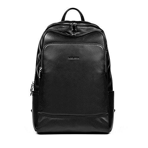 BOSTANTEN Genuine Soft Leather Backpack Rucksack Shoulder Schoolbag Casual Daypacks Travel Laptop Bag for Men Black