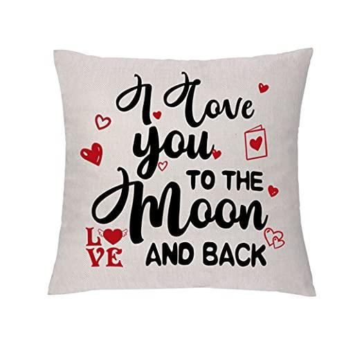 GHORIHUB - Federa per cuscino per la casa, regalo di San Valentino, con scritta 'I Love You to the Moon and Back', regalo di compleanno per moglie, marito, matrimonio, 45,7 x 45,7 cm