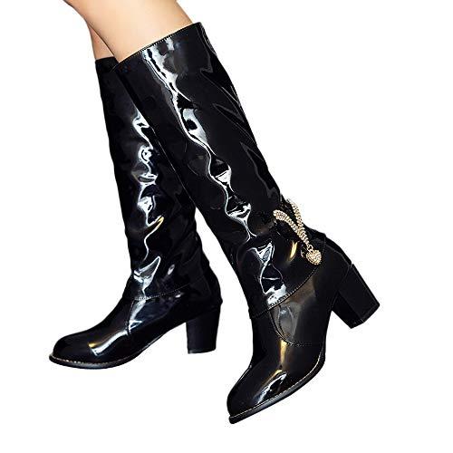 Hohe Stiefel Damen High Heels Stiefel Lack mit Blockabsatz, Frauen Langschaftstiefel Bikerstiefel Winter Damenschuhe Lang Boots Elegante Schuhe Celucke (Schwarz, 42)