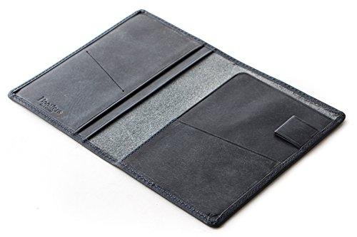 [Boosters] ブースターズ プエブロ パスポートケース 二つ折り 革 本革 メンズ 5.5インチ カードケース ネイビー