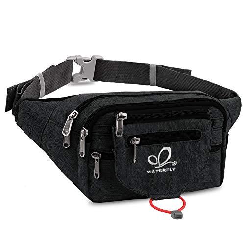 WATERFLY Bauchtasche für Damen und Herren Sport Gürteltasche Wasserdicht Hüfttasche mit 5 Fächern - ideal für Outdoor Radfahren Reise Wanderung
