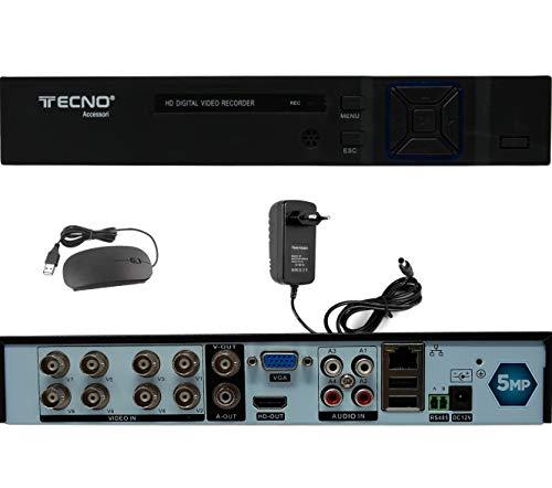 DVR 8 Kanäle Hybrid 5 MPX 5 in 1 P2P mit Videoausgang BNC kompatibel mit allen Kameras