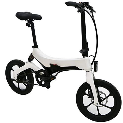 Bicicleta eléctrica plegable para adultos con batería de 5,2 Ah, neumáticos de 16 pulgadas, motor de 250 W, marco de aleación de magnesio, velocidad de elevación de 25 km/h.