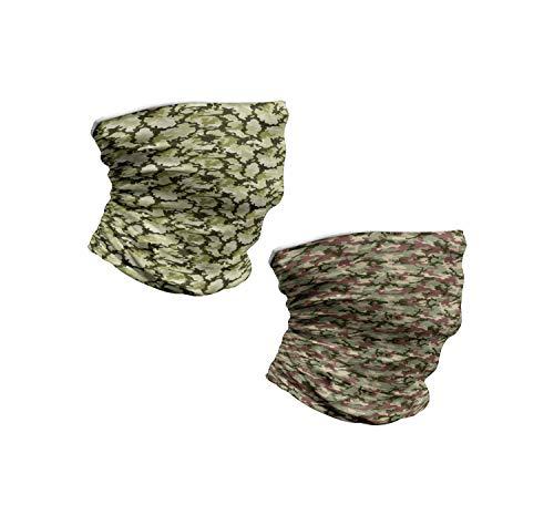 ABAKUHAUS Nackenwaermer 2 er Set Halswaermer nackenhörnchen Stehkragen, Dschungel-Camouflage-Design in Waldfarben, Hellgrün Dunkelgrün