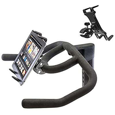 Heavy Duty Clamp Mount w/Universal iPad Pro Tablet Holder for Stationary Bicycle Treadmill Elliptical Indoor Exercise Spin Bike Microphone Stand & Boat Helm (Fits all tablets with or with out case Cases)