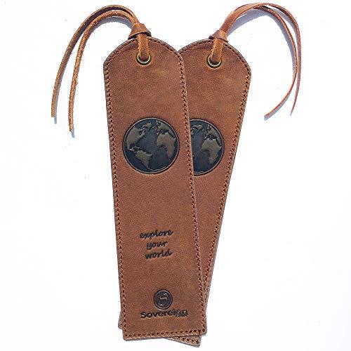 Leder Lesezeichen Leather Bookmarks Mit einzigartigem Karte Design Handgefertigtes Mit Traditionellem Quasten-Lesezeichen. Echtleder Einzigartige Geschenke Für Frauen, Männer, Kinder - 2er Pack