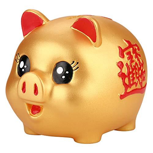 Banco de monedas de material de silicona de gran capacidad, hucha, diseño de cerdo dorado dorado brillante para niños Juguete para bebés que almacena 200 monedas