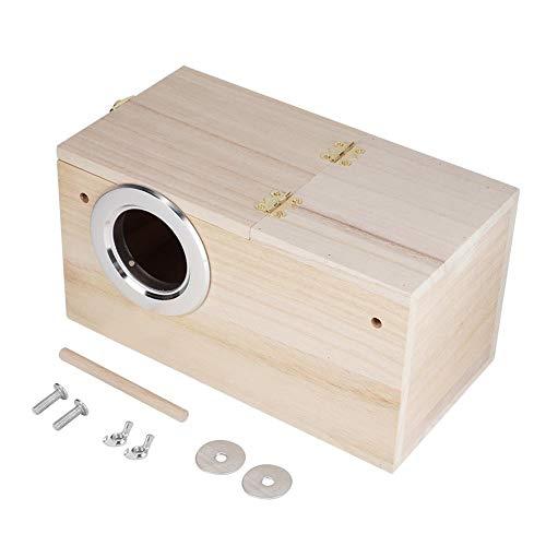 Sheens Caja de cría de pájaros, pajareras de Madera Natural Nido de pájaros pequeños para Periquito Pinzón Agapornis Cockatiel Budgie Conure(Right Opening)