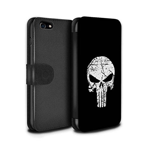 Stuff4 PU Pelle Custodia/Cover/Caso/Portafoglio per Apple iPhone 7 / Punisher Ispirato/Arte Anti Eroe Disegno