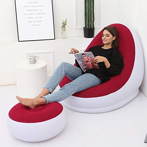 FEIYI Große aufblasbare Liegestuhl, Ottomanen-Set, tragbar, Sofa, Fußstütze, Reisen (Farbe: Rot)