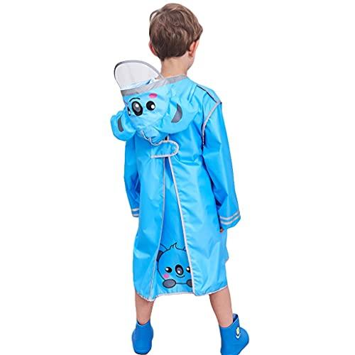 GDSSX Impermeables Infantiles, Chaqueta de Lluvia de niños de Dibujos Animados 3D, niños y niñas Chaqueta de Lluvia para niños. Poncho de Emergencia (Color : Blue, Size : M)