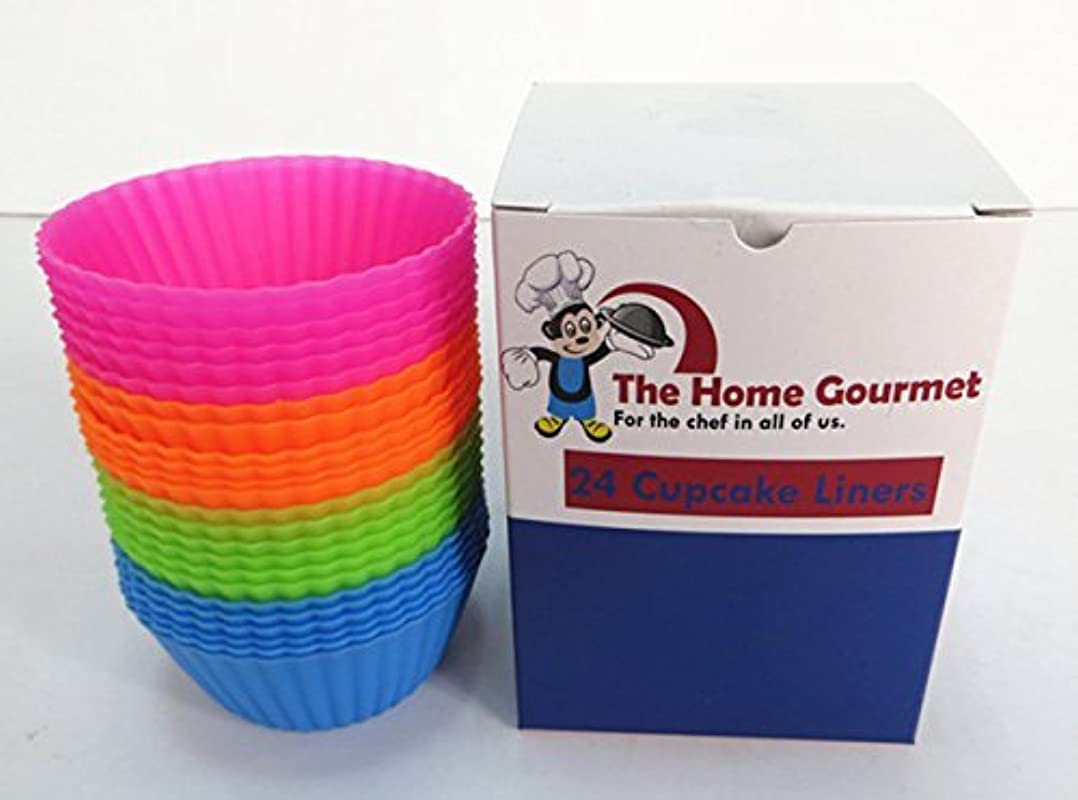 The Home Gourmet Silicone Baking Cups Cupcake Liners 24 Pack Lifetime Guarantee