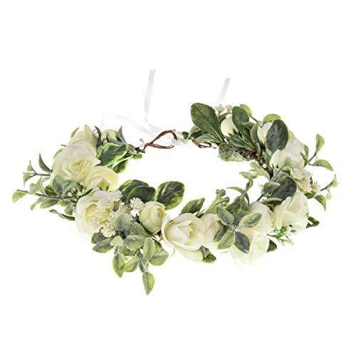 Vividsun - Diadema de flores con diseño de flores - Blanco - Talla única