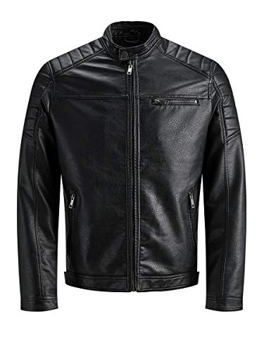 JACK & JONES Jcorocky Jacket Noos Giacca in Pelle Sintetica, Nero (Black Pattern: Pu), Small Uomo