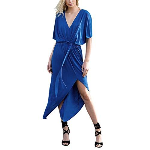Aesyorg Kurzärmliges Kleid mit V-Ausschnitt für Frauen Einfarbig sexy geschnürtes Split-Kleid Loses, lässiges Kleid