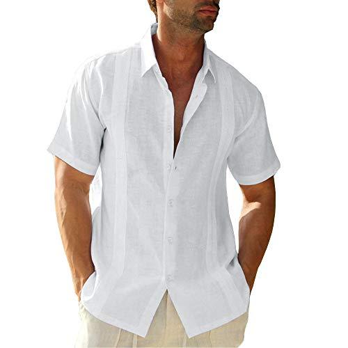 Hestenve Mens Short Sleeve Cuban Camp Guayabera Shirt Cotton Hippie Beach Button Down Shirts White