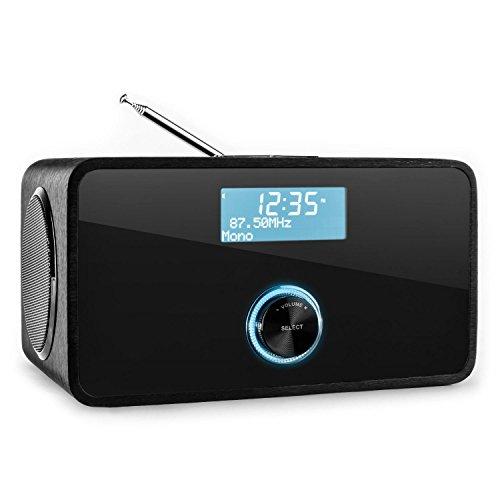 auna DABStep - Digitalradio, Radiowecker, DAB/DAB+ und UKW Tuner, RDS, LCD-Display, Datum- und Uhrzeit-Anzeige, Breitbandlautsprecher, Sleep-Timer, AUX, schwarz