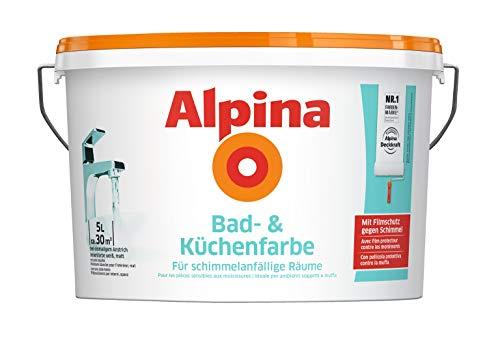 Alpina 5 L. &10 L. weiße Wandfarben für Innen, verschiedene Eigenschaften (5 Liter, Alpina Bad- & Küchenfarbe - für schimmelanfällige Räume)