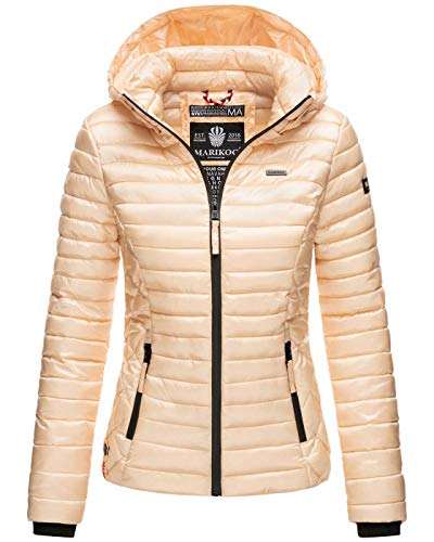 Marikoo Damen Jacke Steppjacke Übergangsjacke mit Kapuze gesteppt B600 [B600-Samt-Gold-Gr.S]