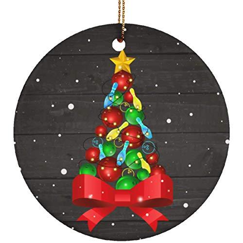 LuckyPastaStore Funny Bowling Christmas Tree Light Christmas Ornament Keepsake-Circle Porcelain Ornament