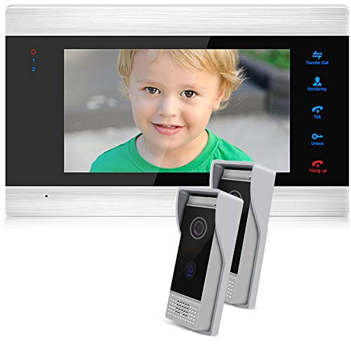 JeaTone 7 inch Monitor Wired Video doorbell intercom System, Wired Video Door Phone HD Camera Kits Support Unlock, Monitoring, Night Vision,Dual-Way Intercom (2outdoor unit/1indoor Unit)