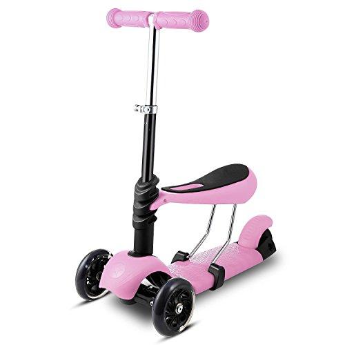 Lonlier Patinete para niños 3~10 Edad Scooter Infantil con T-manillar y Asiento Ajustable 3 Ruedas
