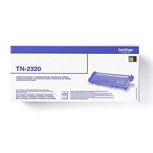 Brother TN2320 Toner Originale, Alta Capacità, fino a 2600 Pagine, per Stampanti MFCL2700DW / MFCL2700DN / MFCL2720DW / MFCL2740DW / DCPL2500D / HLL2300D / HLL2340DW / HLL2365DW/HLL2370DN, Colore Nero