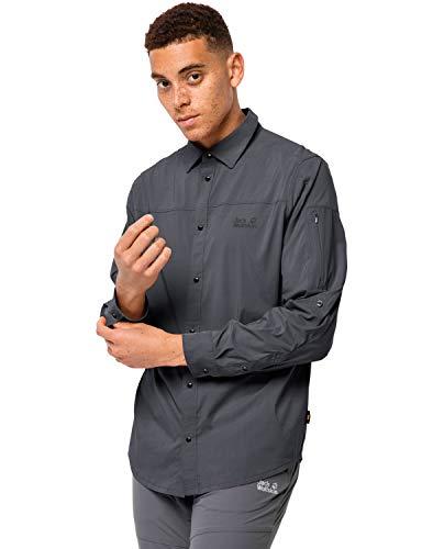 Jack Wolfskin Kenovo Long Sleeve Chemise Men Homme, Ebony, FR : 2XL (Taille Fabricant : XXL)