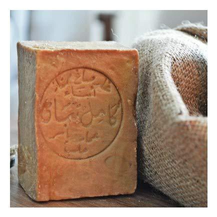 Originale Aleppo Seife mit Olivenöl 60% / Lorbeeröl 40% - Haarwaschseife/Duschseife - 100% Veganes Naturprodukt - reine Handarbeit ca.200g - Plastikfreie Verpackung. Alepposeife Olivenölseife