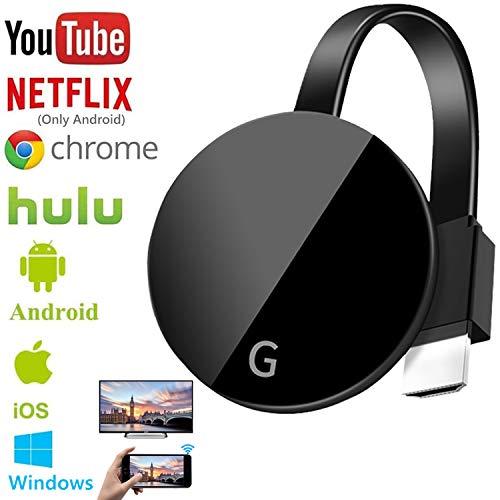 LiveRowing Wireless WiFi Display Dongle HDMI, 2.4GHz WiFi Drahtlos Mini Bildschirm Teilen Anzeigeempfänger 1080HD, Wireless Display Adapter für Android/Smartphone/PC/TV/Monitor/Projektor (Schwarz)