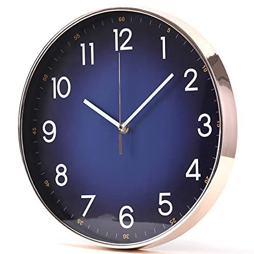 Yudou Moderno reloj de pared de cuarzo, silencioso, con esfera azul marino y carcasa de oro rosa, decoración de gama alta, para salón,...