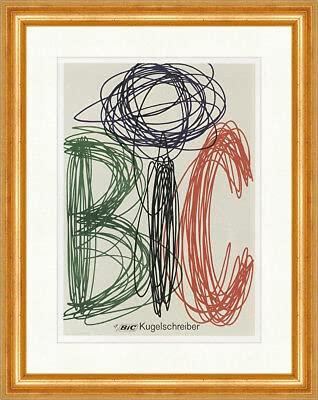 BIC Bolígrafo de colores Marcel Bich Póster 1966 Arte Poster World 636 enmarcado